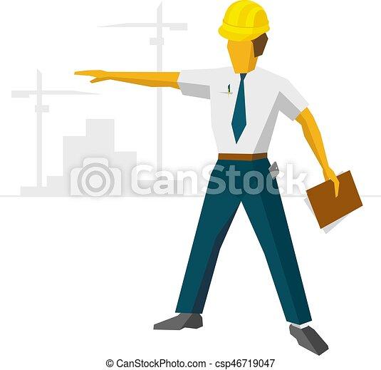 ヘルメット, ショー, 建築者, サイト, 建設, エンジニア - csp46719047