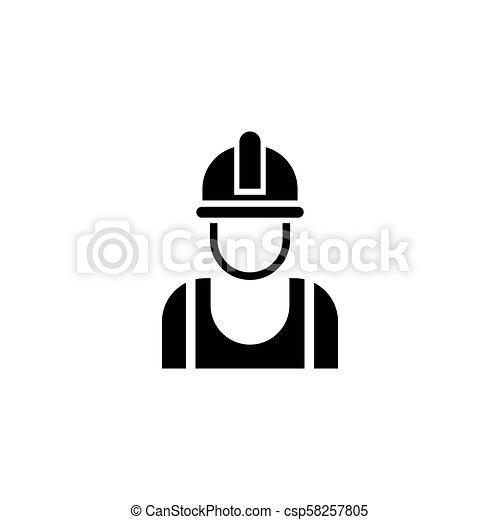 ヘルメット, 建築者, ベクトル, アイコン, 平ら - csp58257805