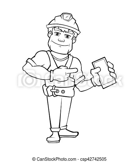 ヘルメット, 建築者, smartphone., 指すこと, handyman - csp42742505