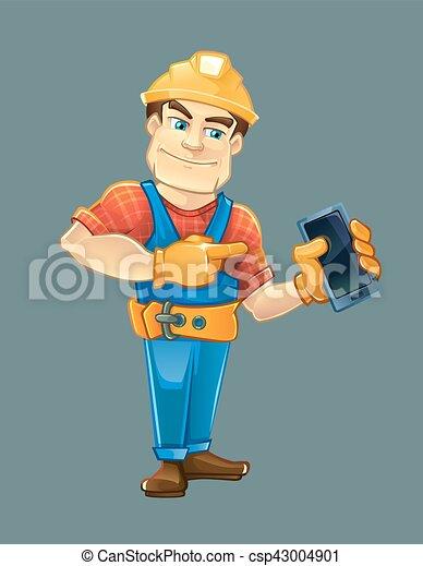 ヘルメット, 建築者, smartphone., 指すこと, handyman - csp43004901