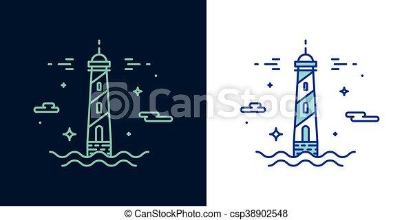 ベクトル, スタイル, 灯台, 線である, アイコン - csp38902548