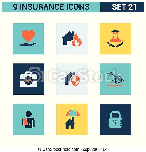 ベクトル, セット, 保険, アイコン - csp62065104