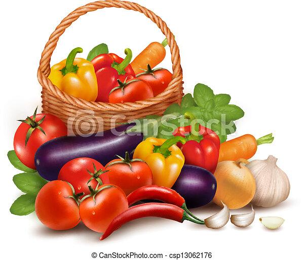 ベクトル, 健康, 野菜, イラスト, 食品。, basket., 背景, 新たに - csp13062176