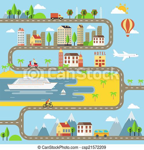 ベクトル, 小さい, 都市の景観, 町, イラスト - csp21572209