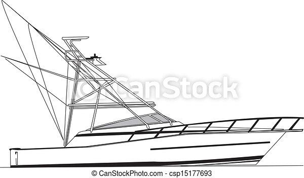 ベクトル, 漁船, 沖合いに - csp15177693
