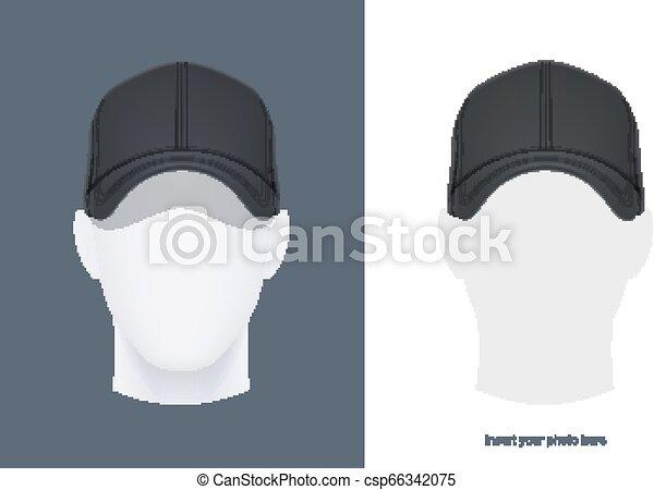 ベクトル, head., 帽子, 野球, illustration. - csp66342075