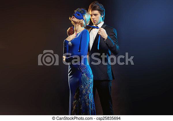 マスク, 青, 結ぶこと, 人, 優雅である - csp25835694