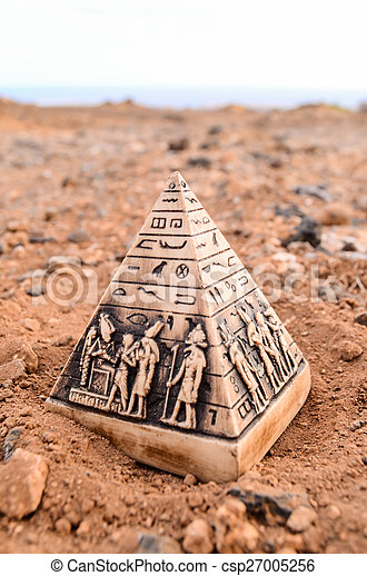 ミニチュア, モデル, ピラミッド, エジプト人 - csp27005256