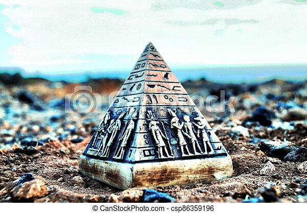 モデル, エジプト人, ミニチュア, ピラミッド - csp86359196