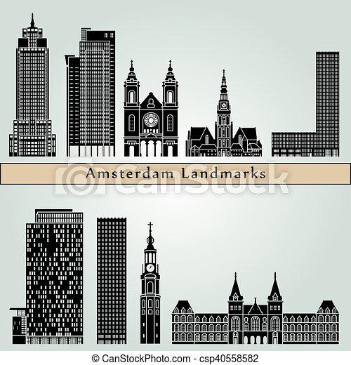 ランドマーク, アムステルダム, v2, 記念碑 - csp40558582