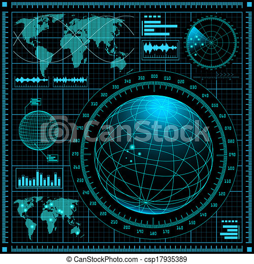 レーダー, スクリーン, 世界地図 - csp17935389