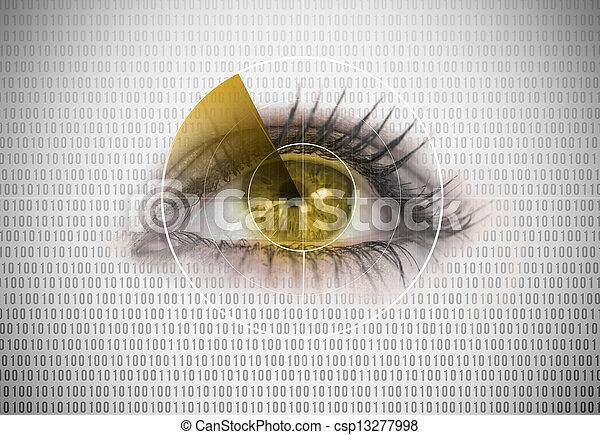 レーダー, 終わり, それ, の上, 目, のまわり, 女 - csp13277998