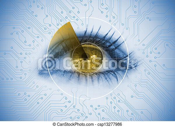 レーダー, 終わり, 目, 女 - csp13277986