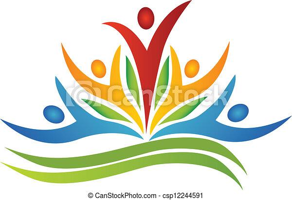 ロゴ, チームワーク, leafs, 花 - csp12244591