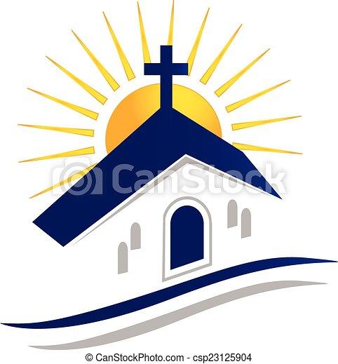 ロゴ, 太陽, ベクトル, アイコン, 教会 - csp23125904