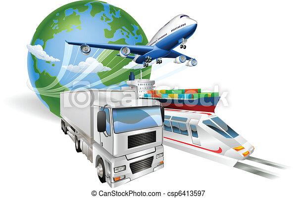 ロジスティクス, 概念, 世界的である, 列車, トラック, 飛行機, 船 - csp6413597