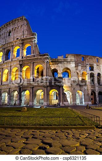 ローマ, -, colosseum, 夕闇 - csp6321135