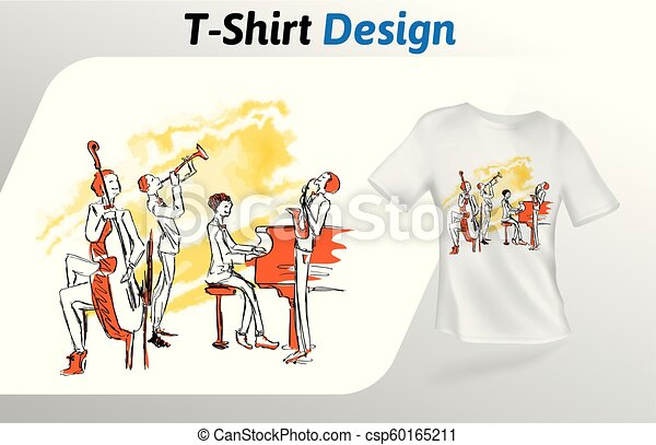 一緒に, ジャズ, 隔離された, の上, tシャツ, バックグラウンド。, print., ベクトル, デザイン, 音楽家, 白, 遊び, template., mock, テンプレート - csp60165211