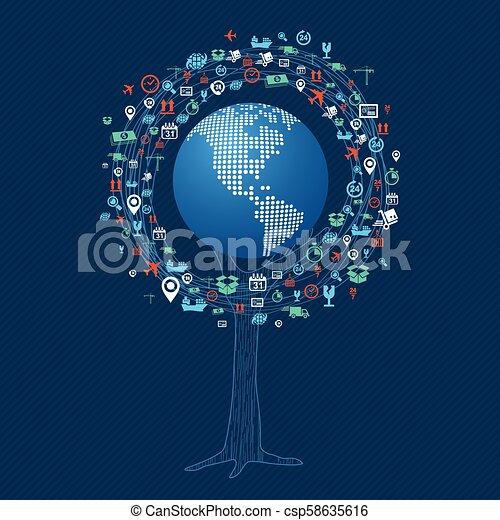世界的なコミュニケーション, 概念, 技術, 木 - csp58635616
