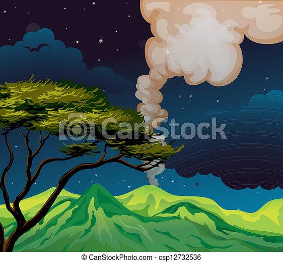 中央, 山光景, 夜 - csp12732536