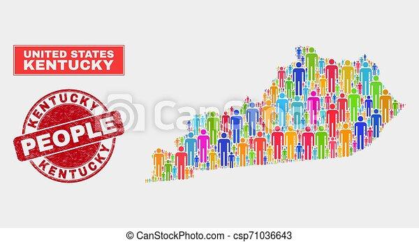 人々, ケンタッキー, 人口, シール, 州の地図, ゴム - csp71036643