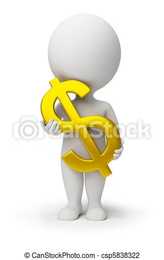 人々, -, シンボル, ドル, 手, 小さい, 3d - csp5838322