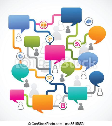 人々, 媒体, イメージ, スピーチ, 社会, 泡 - csp8515853
