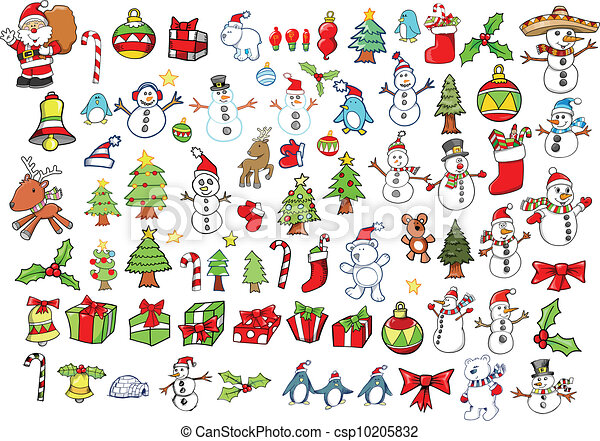 休日, ベクトル, セット, クリスマス, 冬 - csp10205832