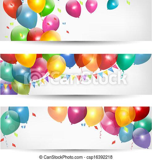 休日, 旗, balloons., vector., カラフルである - csp16392218