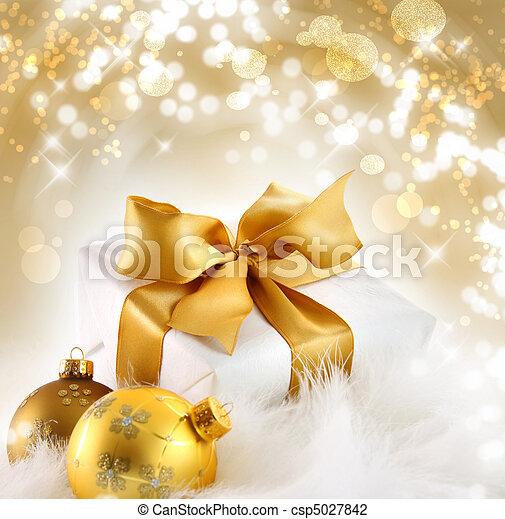 休日, r, 背景, 贈り物, 金 - csp5027842