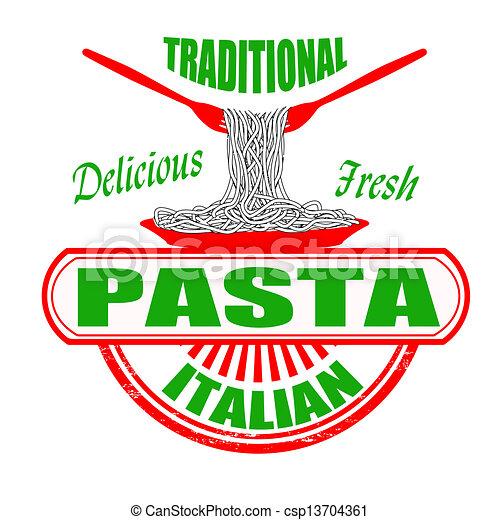 伝統的である, パスタ, 切手 - csp13704361
