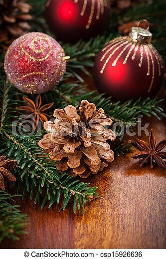 伝統的である, 装飾, クリスマス - csp15926636