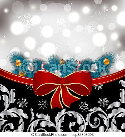 伝統的である, 装飾, クリスマス, 背景 - csp32703003
