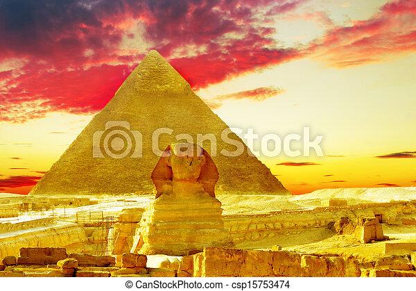 位置を定められた, ピラミッド, ファラオ, 偉人, egypt., sphinx., khufu, ギザ - csp15753474