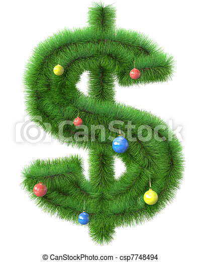作られた, ブランチ, 木, シンボル, ドル, クリスマス - csp7748494