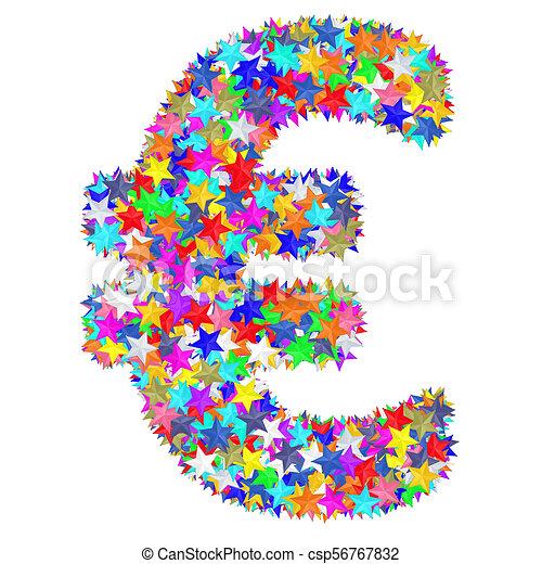 作曲された, カラフルである, アルファベット, シンボル, ドル記号, 星 - csp56767832