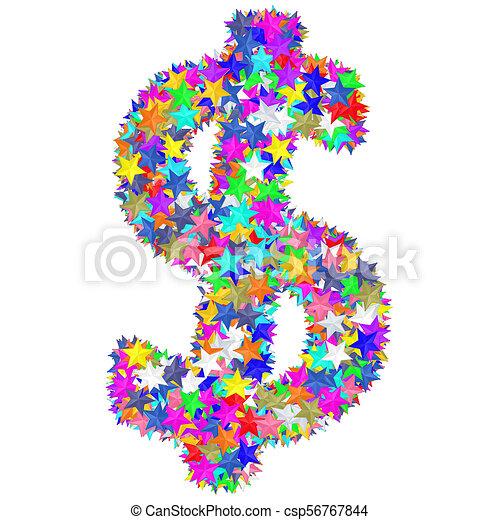 作曲された, カラフルである, アルファベット, シンボル, ドル記号, 星 - csp56767844