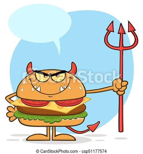保有物, 特徴, バーガー, 漫画, 怒る, 悪魔, trident - csp51177574