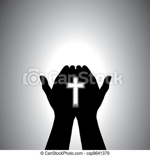 信心深い, 崇拝, キリスト教徒, 手, 交差点 - csp9641379