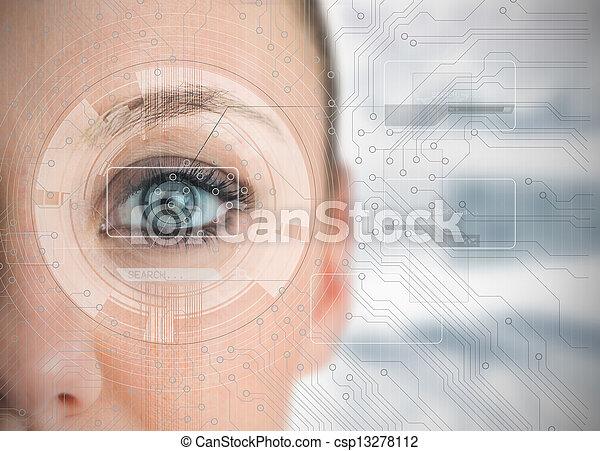 分析, 終わり, チャート, の上, 目, 女 - csp13278112
