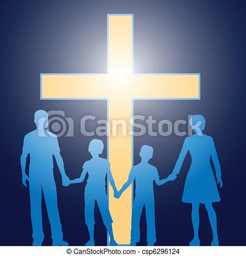 前に, キリスト教徒, 家族, 地位, 明るい, 交差点 - csp6296124