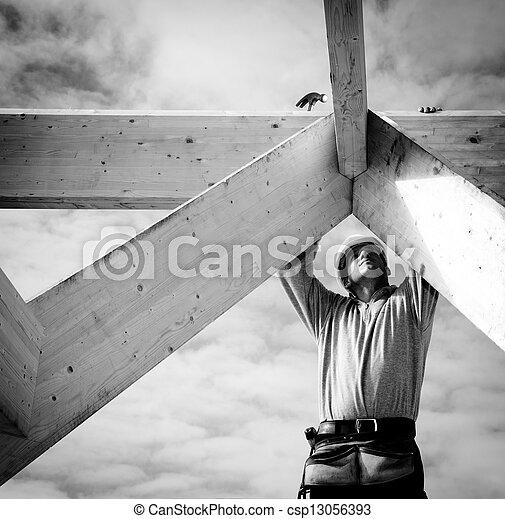 労働者, 実質, 建設 - csp13056393