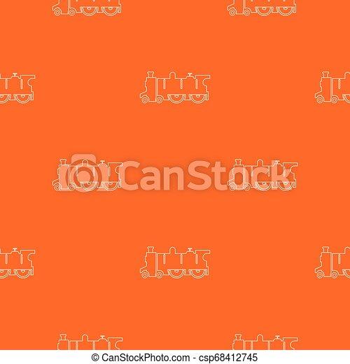 古い, パターン, 蒸気, ベクトル, オレンジ, 機関車 - csp68412745