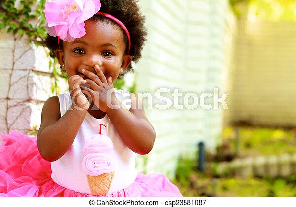 古い, 1(人・つ), 黒, 年, 女の子の微笑 - csp23581087