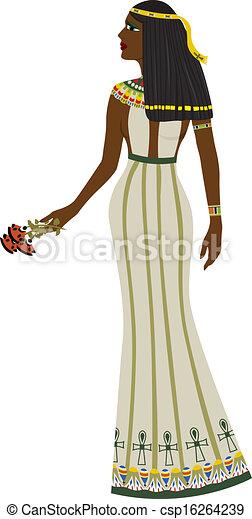 古代, エジプト人, 女, 丈いっぱいに - csp16264239