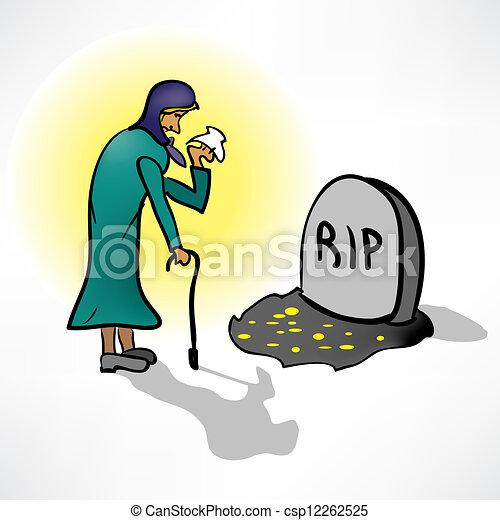 叫び, 女, 古い, 墓 - csp12262525