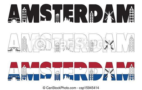 含む, スカイライン, 中で, 単語, アムステルダム - csp15945414