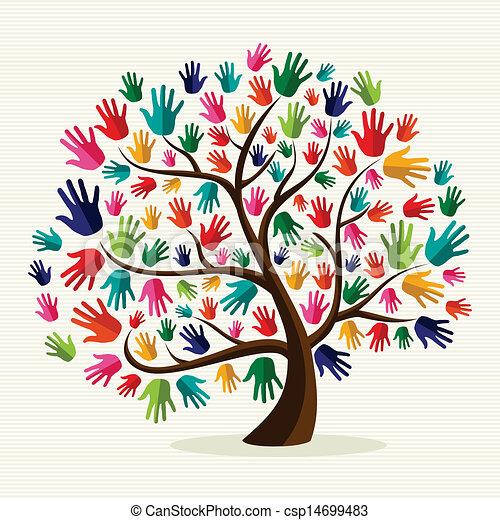 団結, 手, カラフルである, 木 - csp14699483