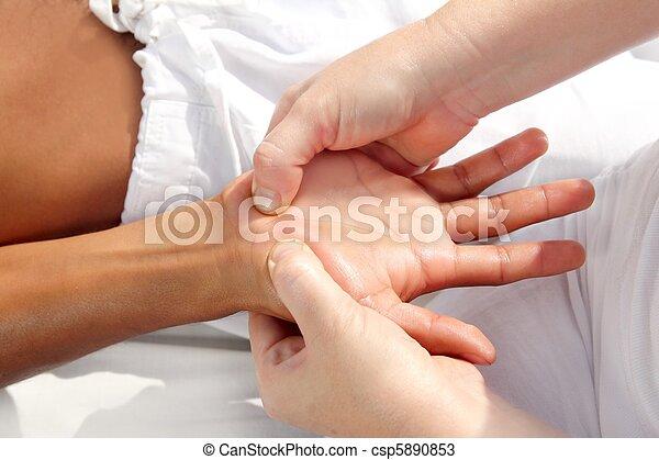 圧力, デジタル, tuina, reflexology, 療法, 手, マッサージ - csp5890853