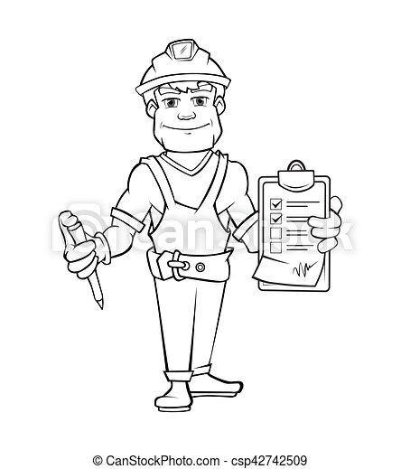 地位, ヘルメット, 建築者, ペーパー, 保有物, 順序 - csp42742509